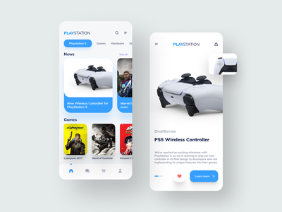 Playstation App Design mobile ui mobile app store design sony game store figma game shop playstation5 playstation ps5 controller game mobile application clean app 2020 icon design ux