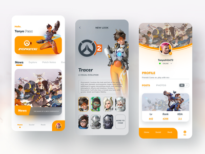 Overwatch2 Game App Design interface mobile app overwatch2 cards game app game ui games overwatch league overwatch game figma application mobile clean app icon 2020 ui design ux