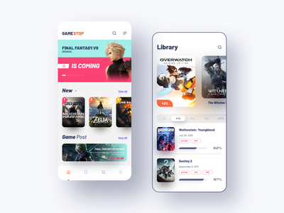 Gamestop App Design color color palette card mobile ui mobile app final fantasy game app games gamestop gamestore figma application mobile clean app icon 2020 ui design ux