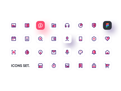 Icons Set illustration tool mobile ui branding pink iconography icon design icons icon set logo figma icon 2020 ui design ux