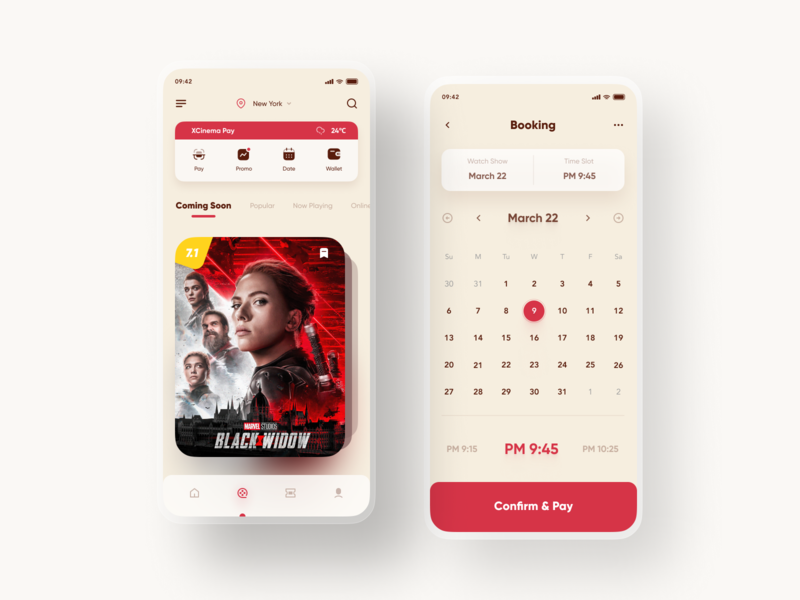 Cinema Ticket App Design booking color black widow movie movie app movie poster mobile clean app figma icon 2020 ui design ux ticket app ticket cinema