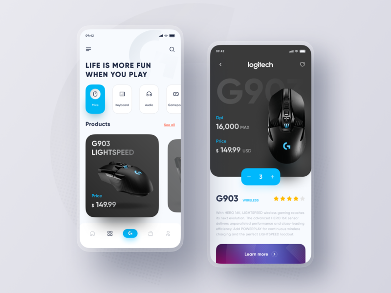Logitech Store App Design shopping app gaming gamepad products audio keyboard store app logitech mouse mice mobile ui game figma mobile app icon 2020 ui design ux