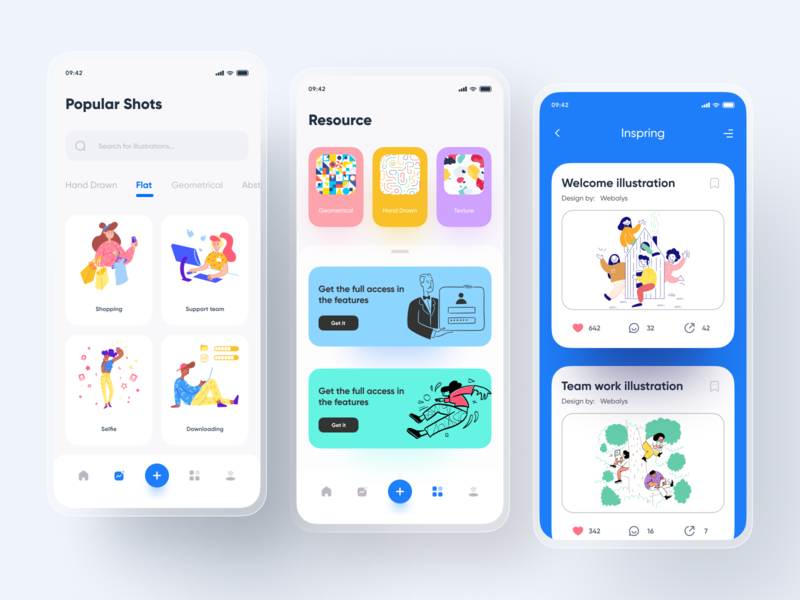 Illustration Learning App-2 flat hand drawn color inspire learning app illustration art illustrator mobile app application mobile ui illustration figma mobile clean app icon 2020 ui design ux