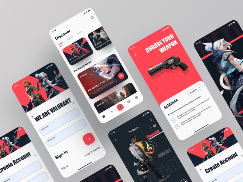 Valorant App Design-2 color palette agents news profile weapon sign up sign in application figma app icon 2020 ui design ux game app riot games riot valorant