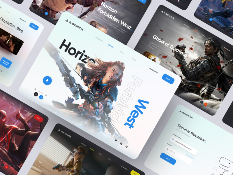 Playstation 5 Web design the last of us cyberpunk 2077 cyberpunk spider-man clean web horizon games playstation5 playstation fullscreen landingpage webdesign website figma design ui ux 2020
