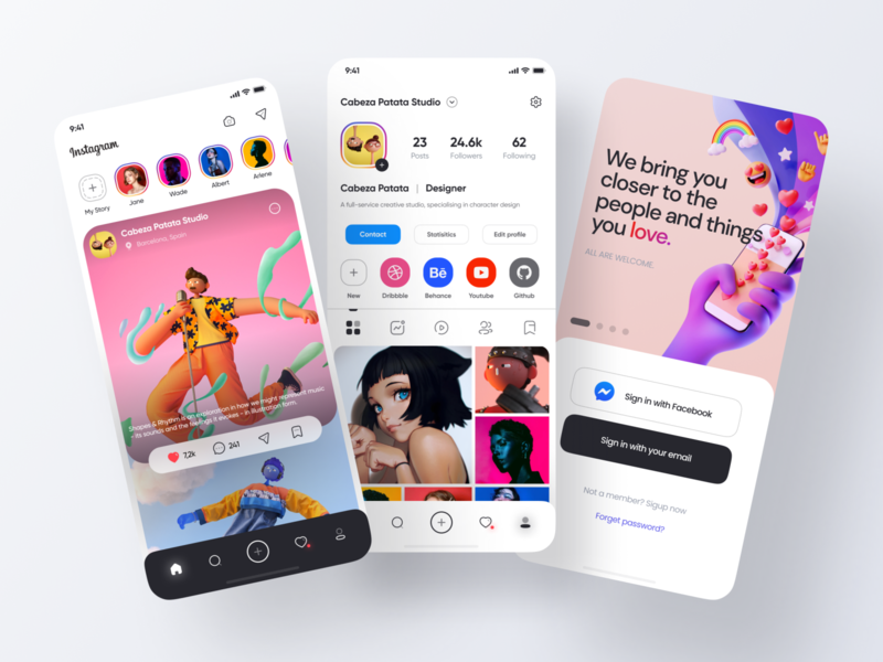 Instagram App Redesign icons concept design social app feed redesign instagram post instagram app ui application mobile clean figma design 2020 ux