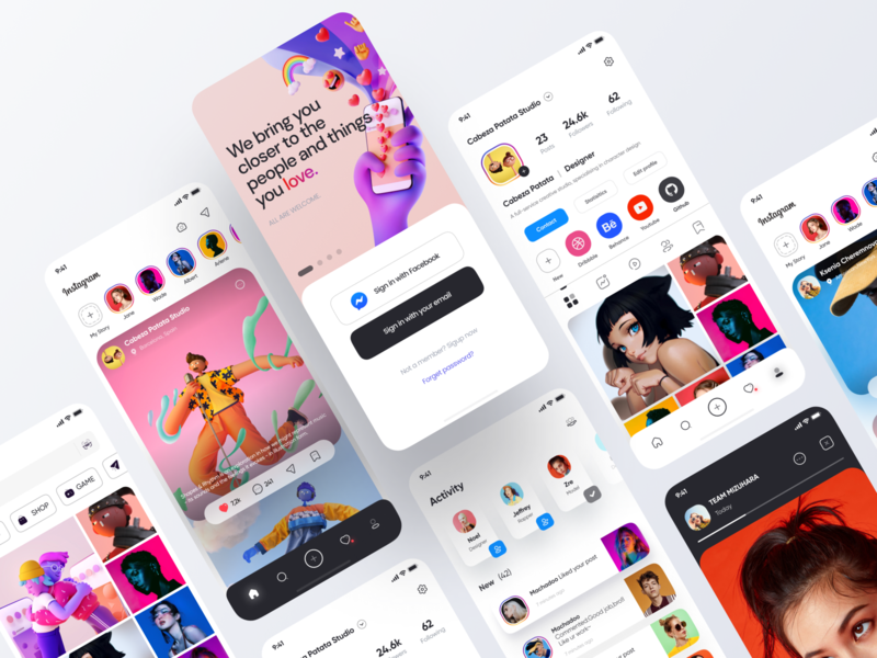 Instagram App Redesign - Part 2 concept design concept mobile icons application interface mobile ui figma app ui design 2020 ux redesign instagram stories instagram post instagram