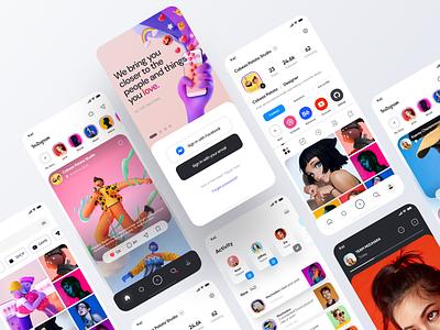 Instagram App Redesign - Part 2 concept design concept mobile icons application interface mobile ui figma app ui design 2020 ux redesign instagram stories instagram post instagram