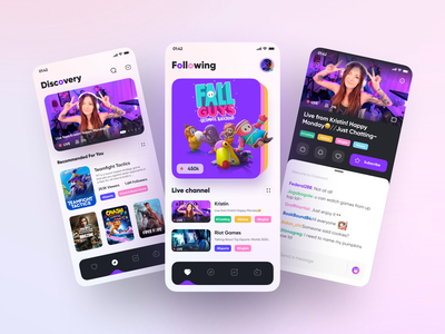 Twitch App Design games fall guys product design live feed streaming streaming app streamer stream twitch application clean mobile figma icon app design 2020 ui ux