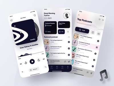 Podecast App Design mobile ui home screen feed player card player ui player icons application app design mobile figma app design 2020 ui ux podcasting podcast art podcasts podcast