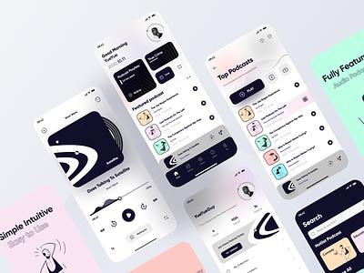 Podcast App  Design Part 2 home screen app design playlist illustration art player ui player podcast app podcast application mobile figma icon app ui design 2020 ux illustration