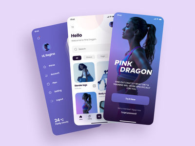 Pink Dragon App Design yoga body health plan feed work in progress workout training fitness app fitness vector mobile app application app design icon figma 2020 ui ux