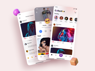Social App Design feed trending follow profile instagram mobile figma icon app design 2020 ui ux post social network social media design social media