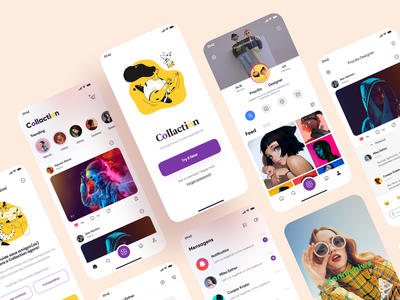 Social App Design - 2 feed onboarding screen product design profile message app social media design social illustration application mobile figma icon app design 2020 ui ux