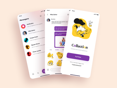 Social App Design - 2 feed onboarding screen product design profile message app social media design social illustration application mobile figma icon app design 2020 ui ux
