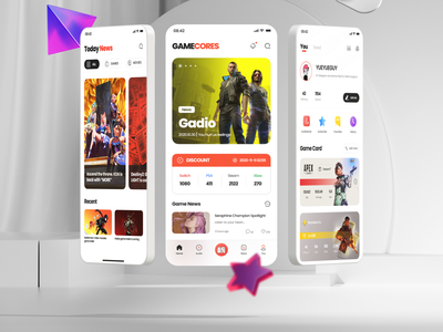 GAMECORES App Design Part 2 feed profile apex legends cyberpunk game app game art game design game games branding application mobile figma icon app 2021 ui design ux