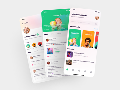 StoryBoard App Design profile superstar taylor swift lauv media feed community music app music art application mobile figma icon app 2021 ui design ux