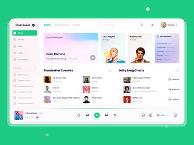 StoryBoard Dashboard App Design lauv taylor swift community song playlist feed dashboard ui dashboad icon app figma player ui music app music 2021 ui design ux
