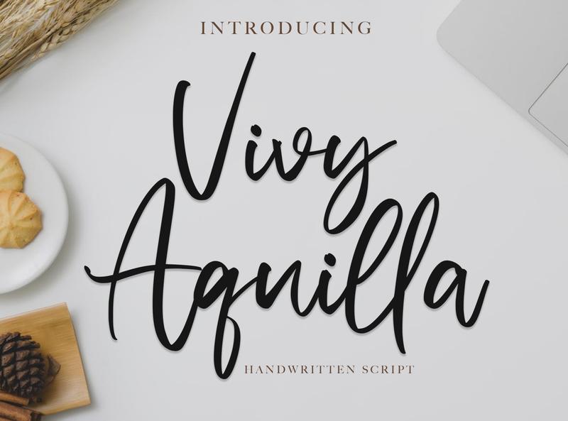 Vivy Aquilla - Handwritten Font whimsical ligature elegant handdrawn casual stylish classy feminime modern luxury signature logotype handwritten handlettering calligraphy