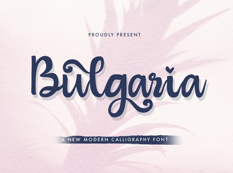 Bulgaria - Modern Calligraphy Font whimsical ligature elegant handdrawn casual stylish classy feminime modern luxury signature logotype handwritten handlettering calligraphy