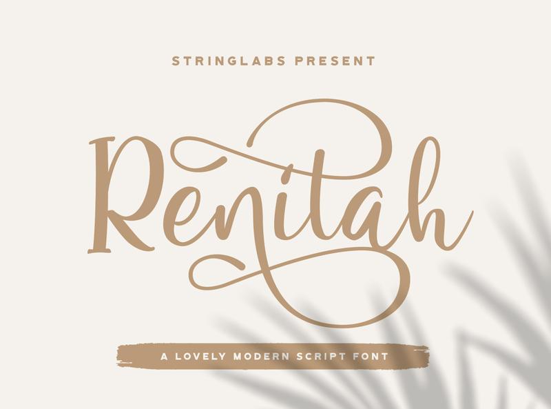 Renitah - Lovely Script Font whimsical ligature elegant handdrawn casual stylish classy feminime modern luxury signature logotype handwritten handlettering calligraphy