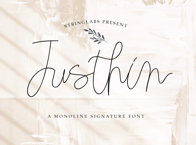 Justhin - Monoline Signature Font thin line mono logotype handlettering wedding handdrawn handwritten calligraphy font script vintage elegant monoline