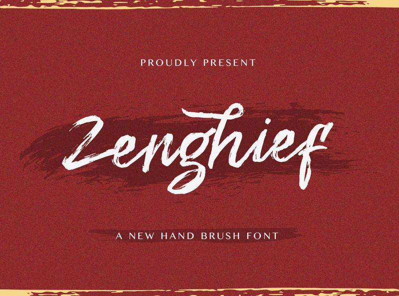 Zenghief - Hand Brush Font hand brush ligature alternates handdrawn casual stylish classy textured modern creative brush logotype handwritten handlettering calligraphy