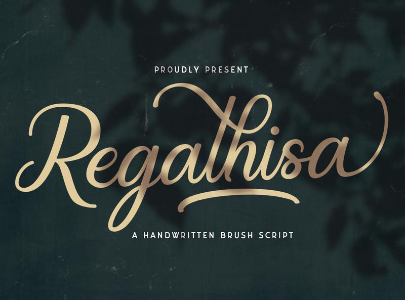Regalhisa - Calligraphy Font whimsical ligature elegant handdrawn casual stylish classy feminime modern luxury signature logotype handwritten handlettering calligraphy