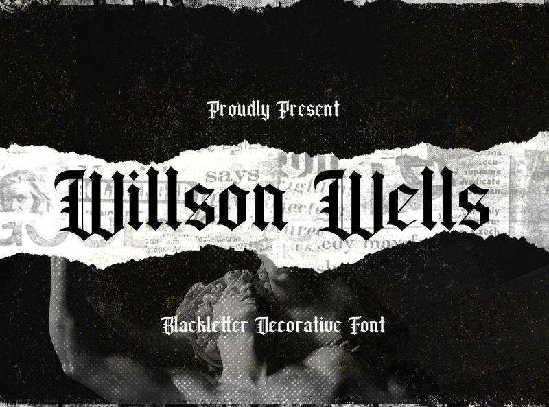 Wilson Wells - Blackletter Font graffiti brush lettering calligraphy handlettering handdrawn fraktur medieval display decorative gothic tattoo blackletter