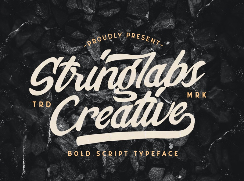 Stringlabs Creative - Bold Script Font hipster sporty 80s classic typeface groovy handdrawn handlettering vintage calligraphy script bold lettering cursive retro