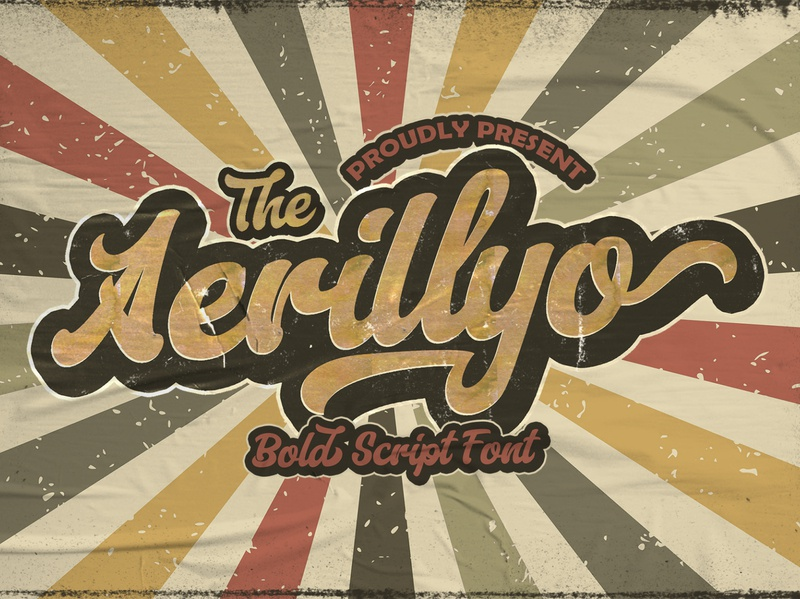 Aerillyo - Retro Bold Script Font hipster sporty 80s classic typeface groovy handdrawn handlettering vintage calligraphy script bold lettering cursive retro