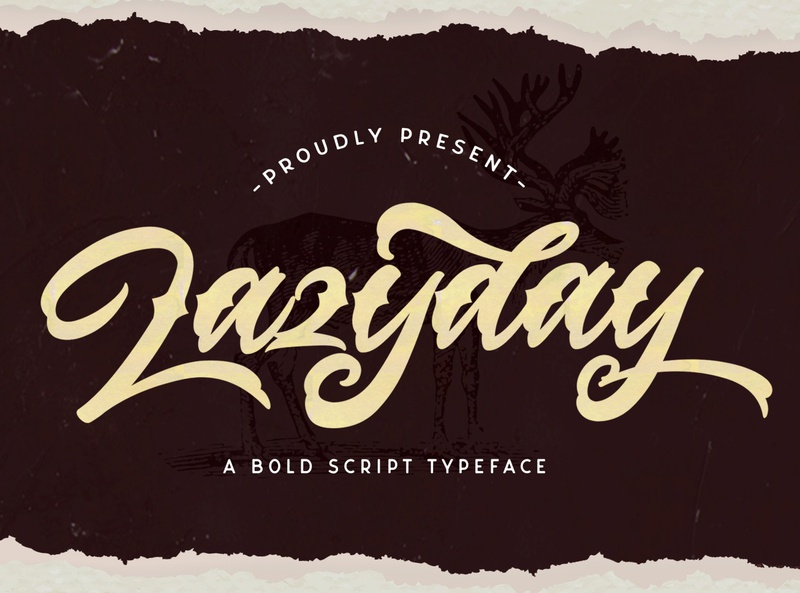 Lazyday - Bold Script Font hipster sporty 80s classic typeface groovy handdrawn handlettering vintage calligraphy script bold lettering cursive retro