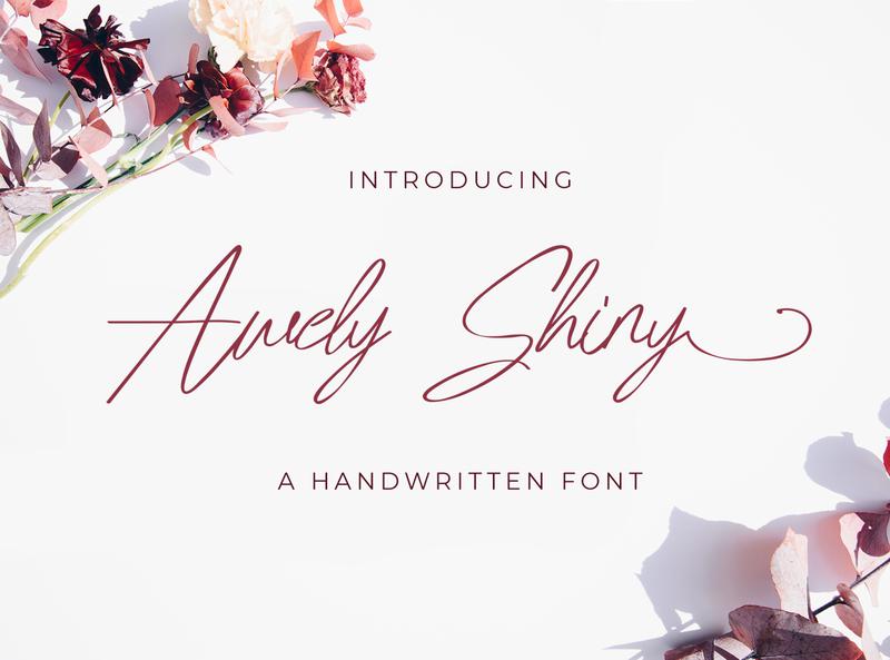 Awely Shiny - Handwritten Font whimsical ligature elegant handdrawn casual stylish classy feminime modern luxury signature logotype handwritten handlettering calligraphy