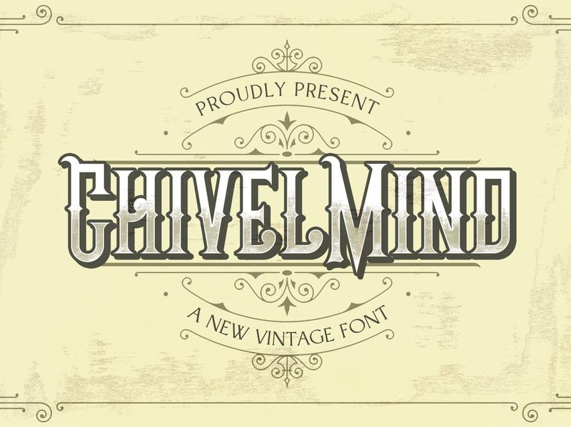 Chivel Mind - Vintage Font lettering classy logotype masculine medieval retro handdrawn 80s blackletter handlettering gothic tatto vintage decorative display