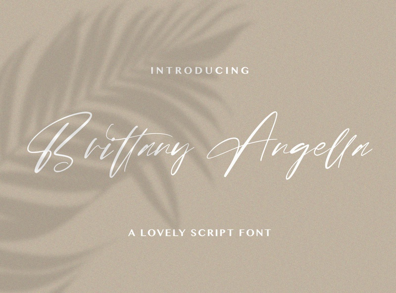 Brittany Angella - Lovely Script Font logotype whimsical ligature elegant handdrawn casual stylish lovely feminime modern luxury signature handwritten handlettering calligraphy
