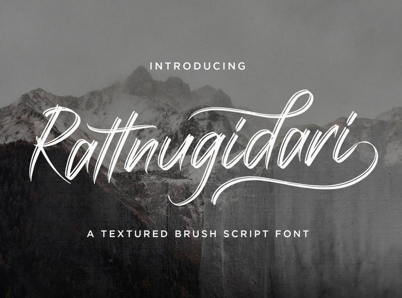 Rattnugidari - Brush Script Font multilingual font textured stylish logotype handdrawn handlettering typography luxury texture brush calligraphy script bold