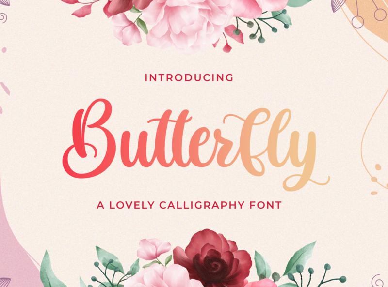 Butterfly - Lovely Calligraphy Font script whimsical ligature elegant handdrawn casual stylish lovely feminime modern luxury signature handwritten handlettering calligraphy