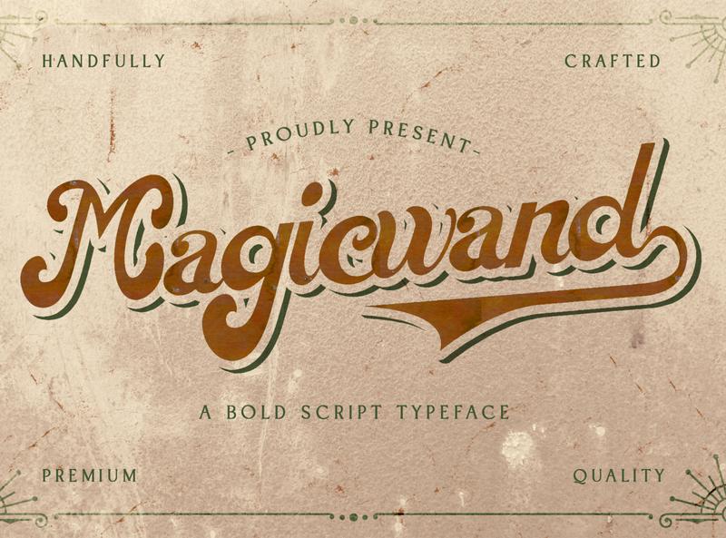 Magic Wand - Bold Script Font multilingual font groovy stylish logotype handdrawn handlettering vintage retro puaencode brush calligraphy script bold