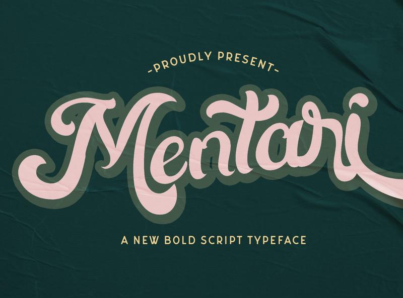 Mentari - Bold Script Font multilingual font groovy stylish logotype handdrawn handlettering vintage retro puaencode brush calligraphy script bold