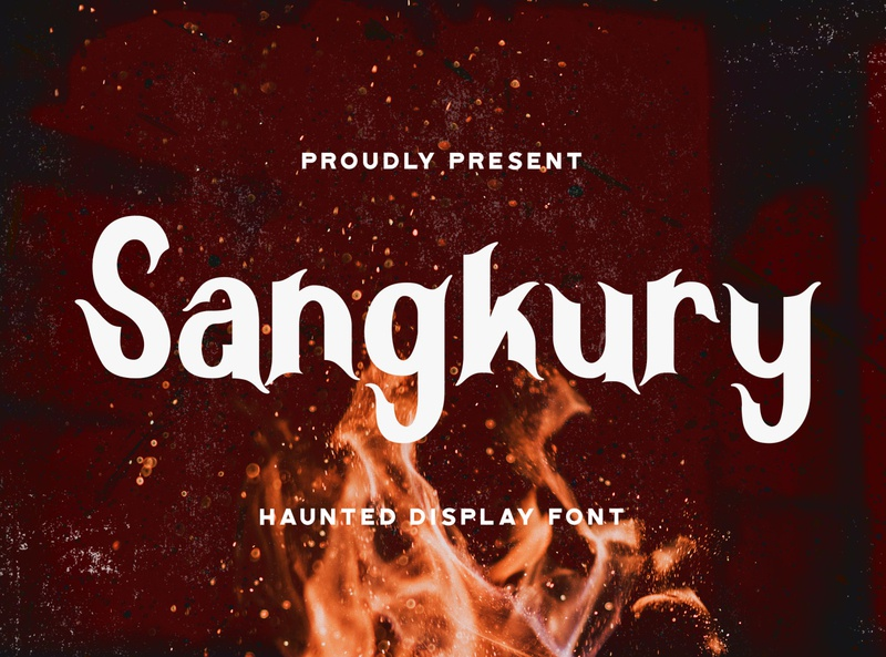 Sangkury - Haunted Display Font logotype dingbats spooky quirky handlettering handdrawn halloween ghost horror scary scream haunted gothic display. decorative