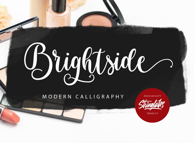 Brightside - Modern Calligraphy Font script whimsical ligature elegant handdrawn casual stylish lovely feminime modern luxury signature handwritten handlettering calligraphy