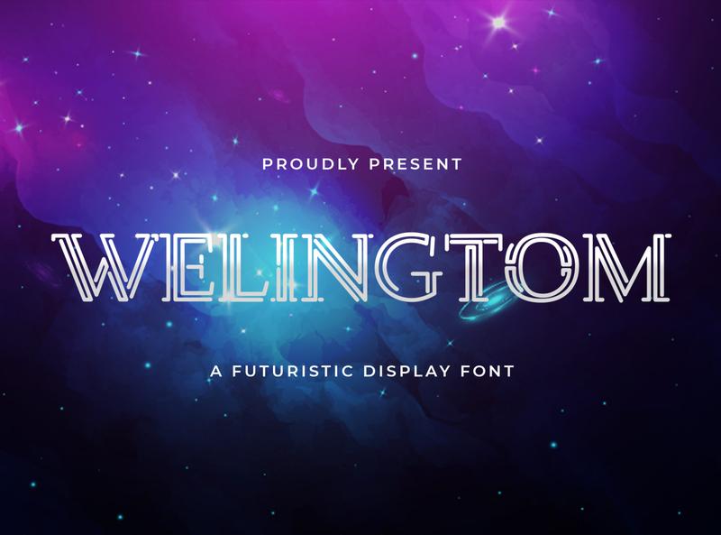 Welingtom - Futuristic Display Font playful font conceptual abstract line shape calligraphy logotype handdrawn handlettering futuristic sansserif sans decorative display