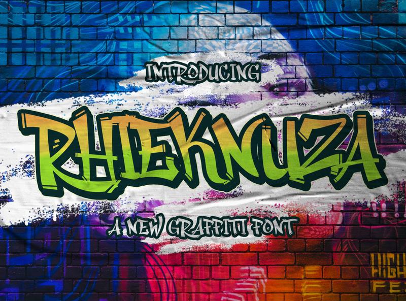 Rhieknuza - Graffiti Font playful font conceptual abstract line shape calligraphy logotype handdrawn handlettering futuristic sansserif sans decorative display