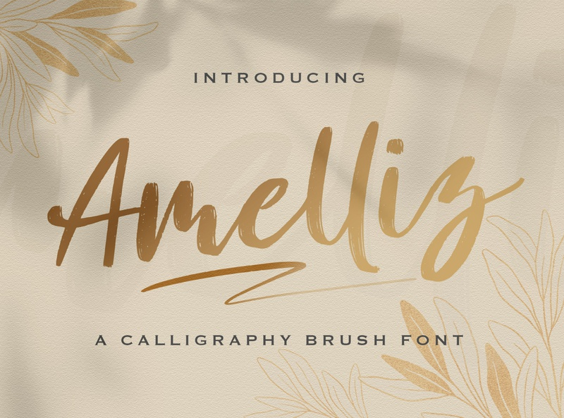 Amelliz - Calligraphy Brush Font script whimsical ligature elegant handdrawn casual stylish lovely feminime modern luxury brush handwritten handlettering calligraphy