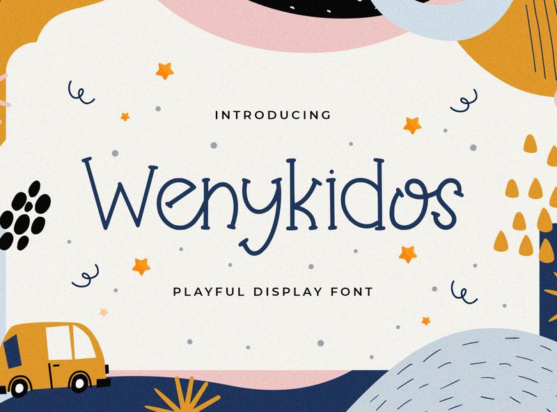 Wenykidos - Playful Display Font kindergarten puaencode quirky children cute preschool handwritten fun calligraphy handlettering kids playful beautiful decorative