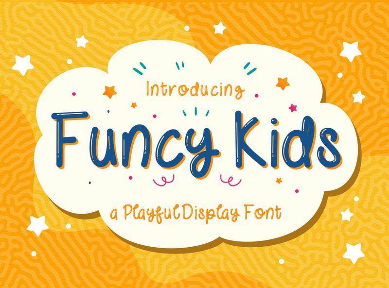 Funcy Kids! - Playful Display Font kindergarten puaencode quirky children cute preschool handwritten fun calligraphy handlettering kids playful beautiful decorative