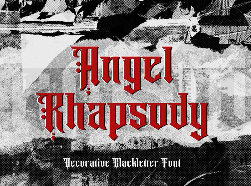 Angel Rhapsody - Blackletter Font graffiti brush lettering calligraphy handlettering handdrawn fraktur medieval display decorative gothic tattoo blackletter