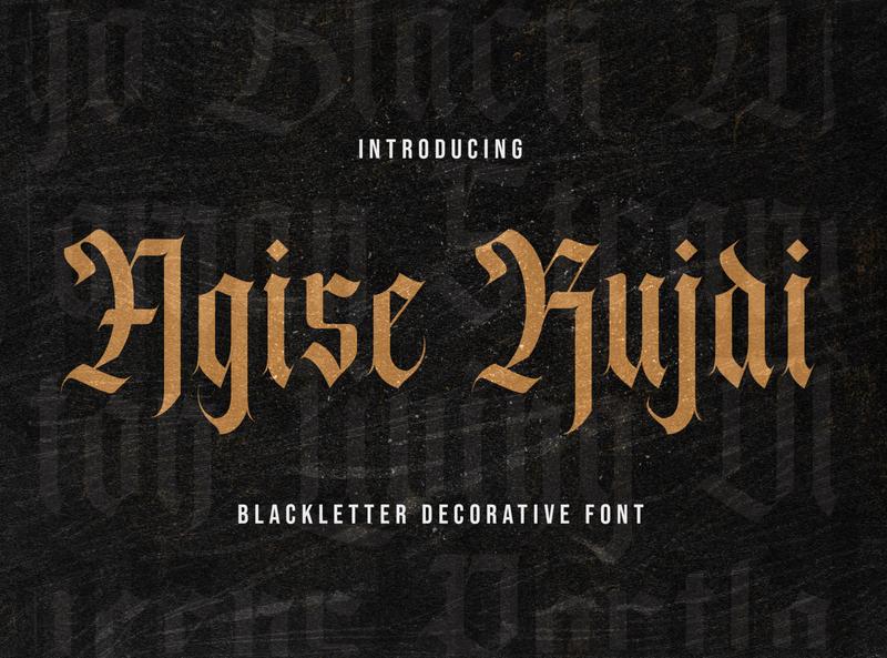 Agise Rujdi - Blackletter Font graffiti brush lettering calligraphy handlettering handdrawn fraktur medieval display decorative gothic tattoo blackletter