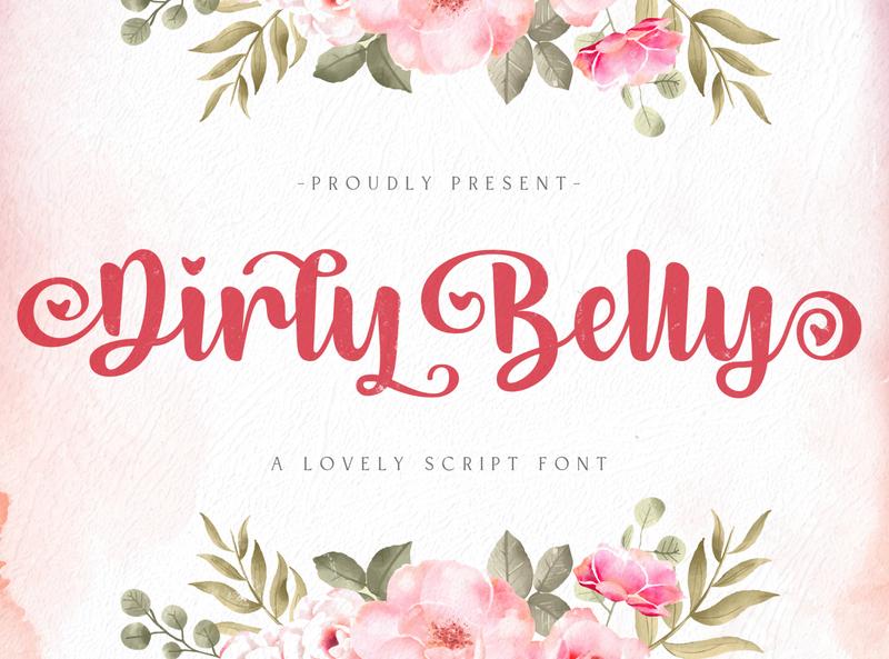 Dirly Belly - Lovely Calligraphy Font script whimsical ligature elegant handdrawn casual stylish lovely feminime modern luxury signature handwritten handlettering calligraphy