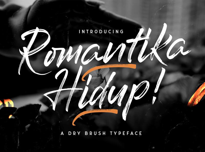 Romantika Hidup - Brush Script Font multilingual font textured stylish logotype handdrawn handlettering typography luxury texture brush calligraphy script bold